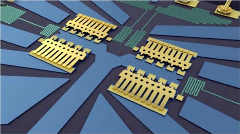 Analog Devices has a wide selection of MEMS switches targeting RF applications. The bondwire at the upper right gives an idea of the small scale of the part. (Courtesy of Analog Devices)