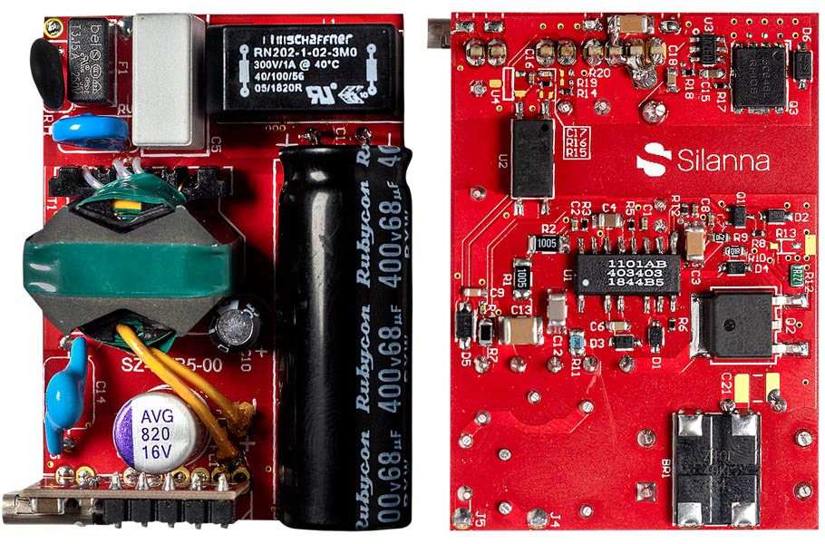 The SZ1101 evaluation board; top view (left) and bottom (right)
