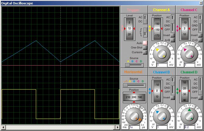 Диаграммы токов в обмотках дросселя (работает только первый канал).