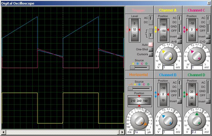 Диаграммы токов в обмотках дросселя (работают оба канала).