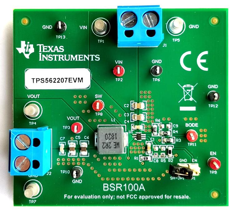 Оценочный модуль TPS562207EVM 2-амперного синхронного понижающего преобразователя