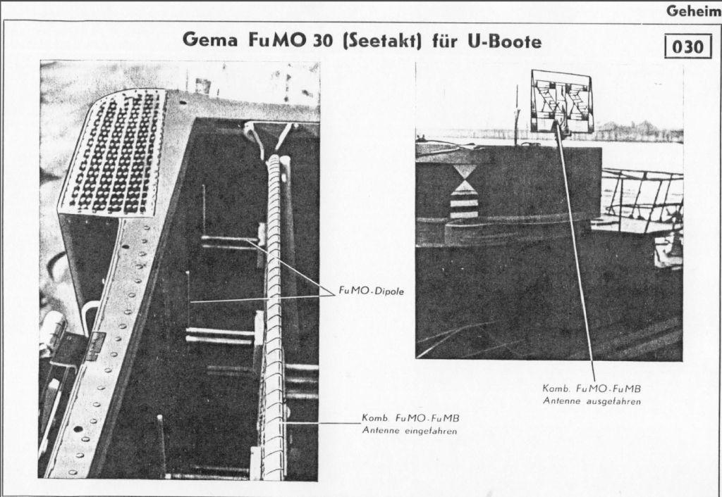 Схема установки антенны радиолокатора «Зеетакт» на немецкой подводной лодке