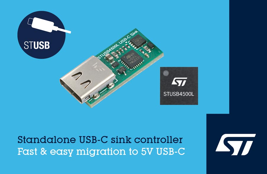 STMicroelectronics Introduces Standalone VBUS-Powered Controller 5V