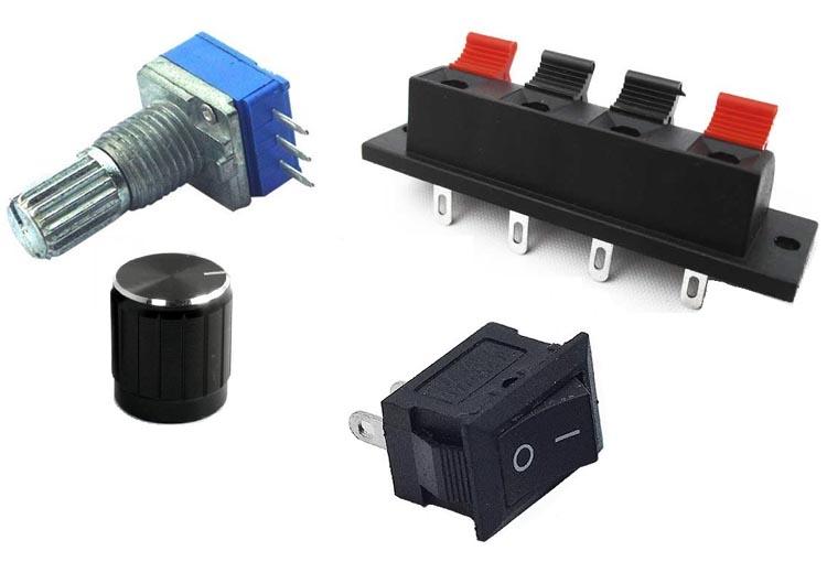 Резистор, выключатель, разъём питания