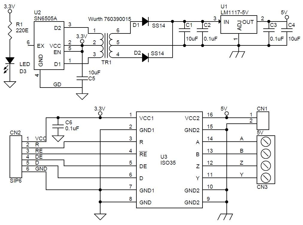 Принципиальная схема изолированного полнодуплексного приемопередатчика RS485.