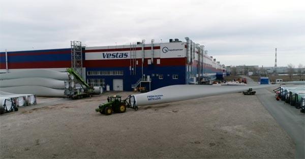 Завод Vestas и РОСНАНО по производству лопастей для ветроустановок впервые поставит свою продукцию на экспорт