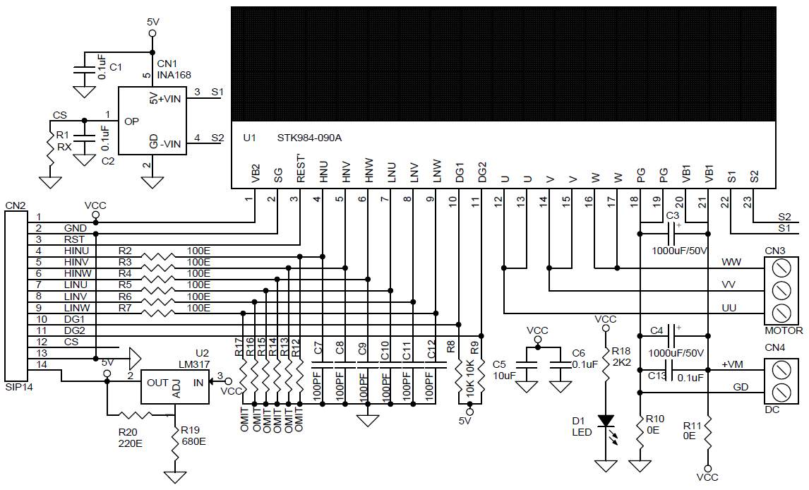 Принципиальная схема модуля драйвера 3-фазного бесколлекторного