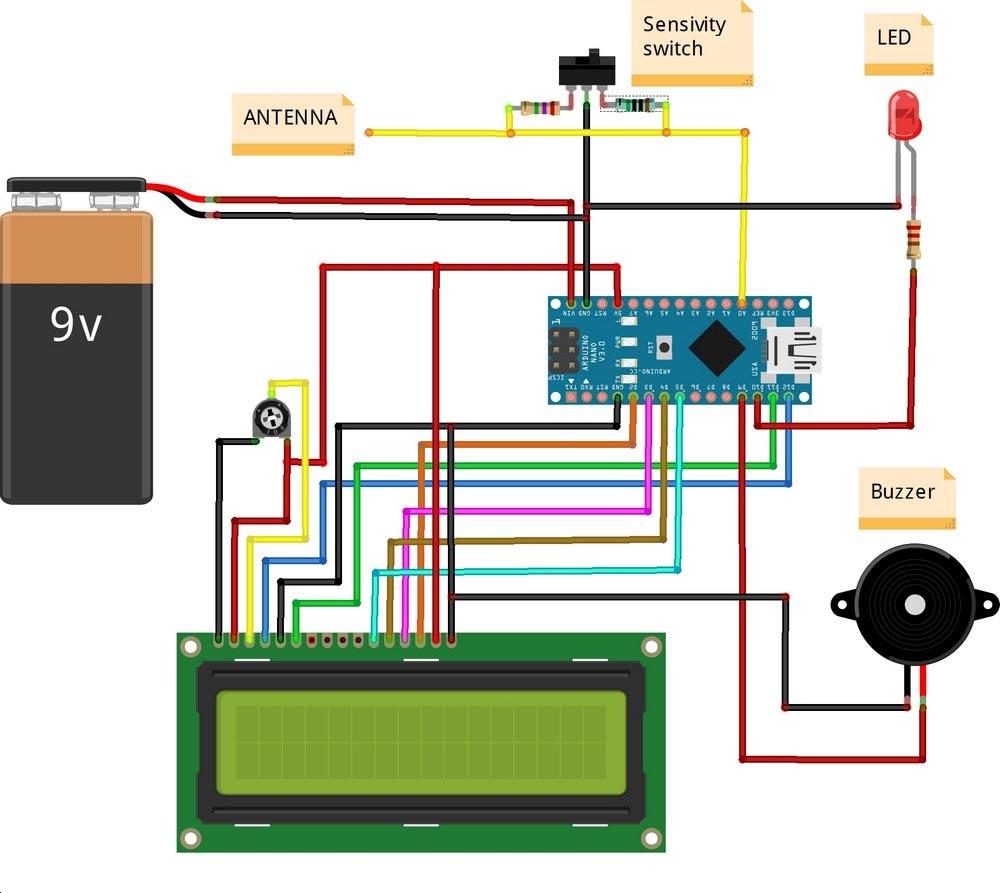Принципиальная схема детектора электромагнитного поля на Arduino