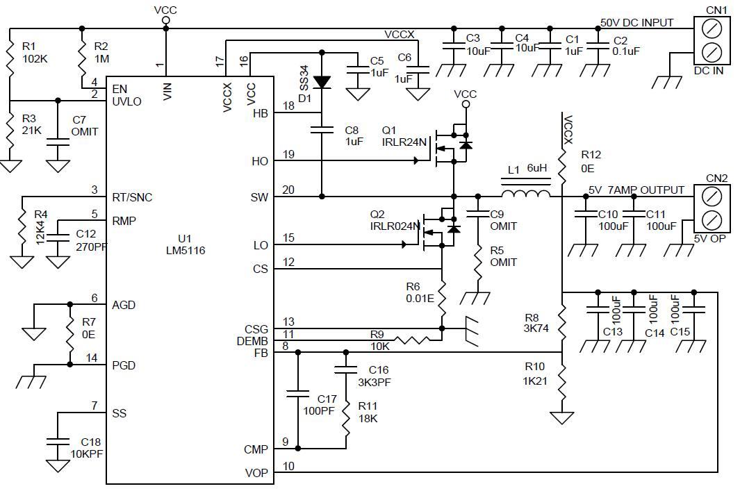 Принципиальная схема DC-DC преобразователя с выходным напряжением 5 В и выходным током до 7 А.