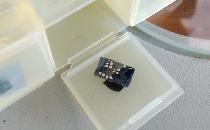 Облученный образец фторграфена на кремниевой подложке