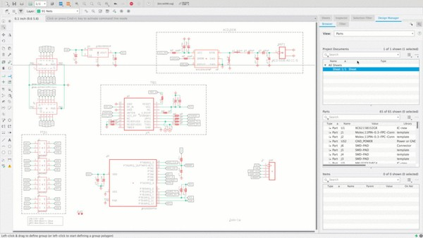 In EAGLE 9.5 we have added the Design Manager to schematic.