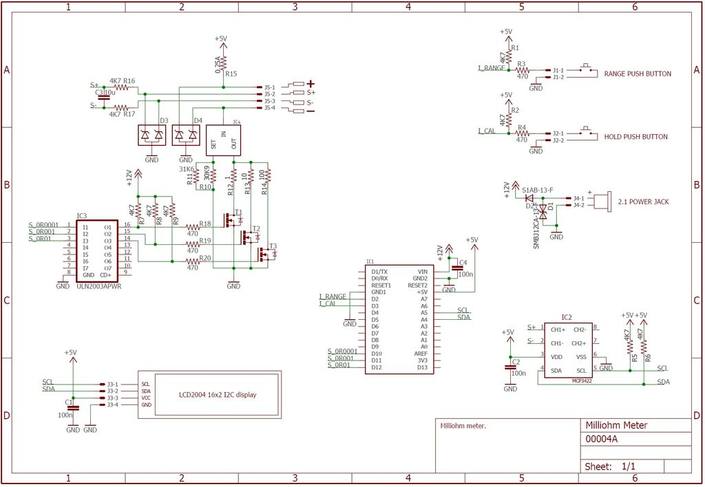 Arduino based Milliohm Meter Schematic Diagram.