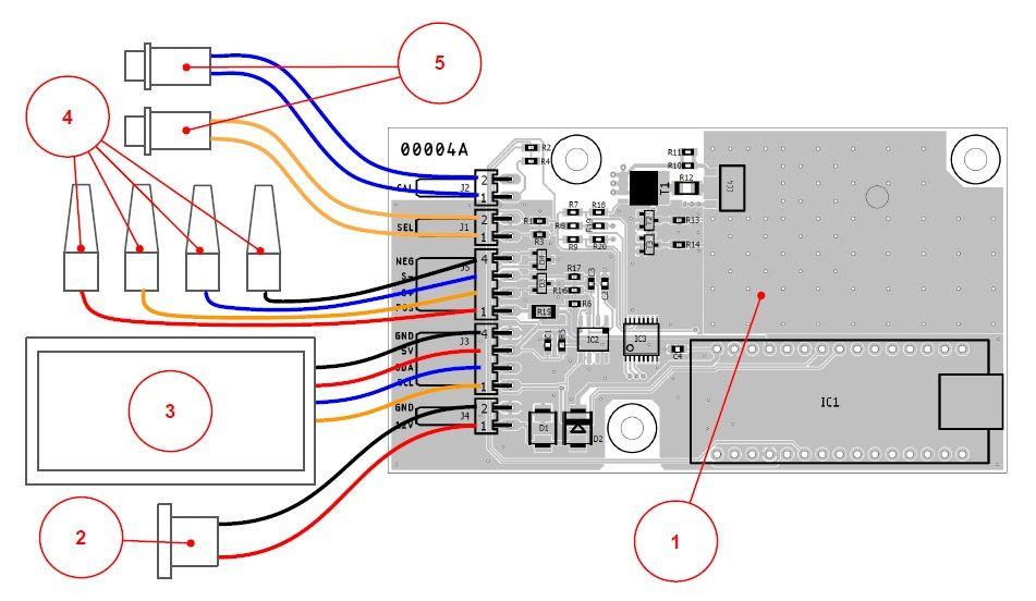 Подключение кнопок управления, ЖК индикатора, тестовых щупов к разъемам на печатной плате миллиомметра.