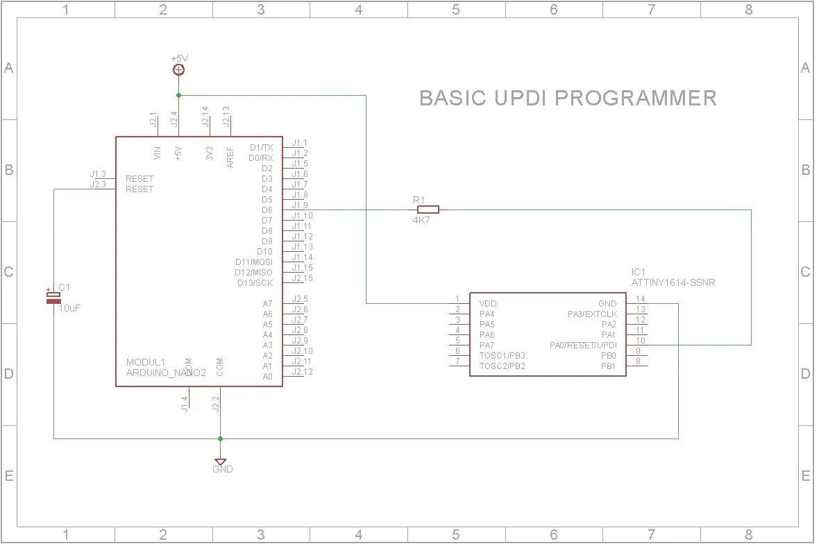 Schematic Diagram for Arduino Nano as a UPDI programmer for ATtiny1614.