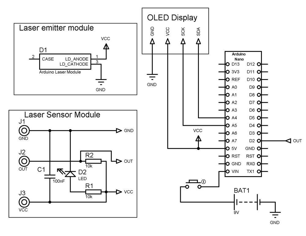 Arduino Laser Tachometer Schemtaic Diagram.
