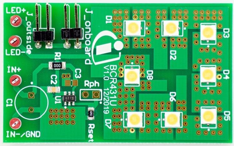 Демонстрационная плата с микросхемой драйвера BCR431U