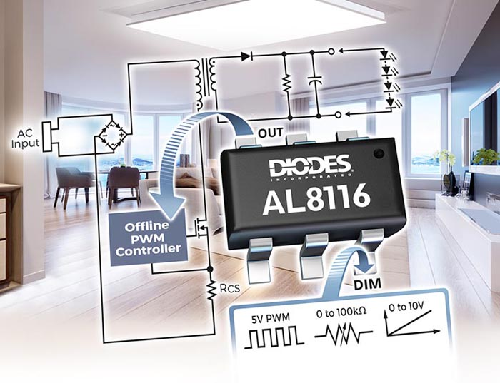 Diodes сообщает о начале производства контроллера интерфейса изолированных драйверов светодиодов