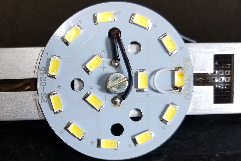 One of the LEDs has been deliberately shorted to reduce the array to 11 LEDs.