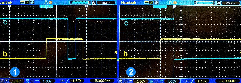 Выходной сигнал фотоприемника DD2: 3.1 - при недостаточной освещенности, 3.2 - при достаточной освещенности.