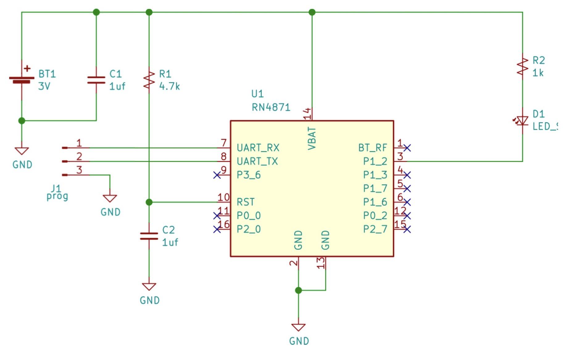 Принципиальная схема подключения светодиода к модулю RN487x.