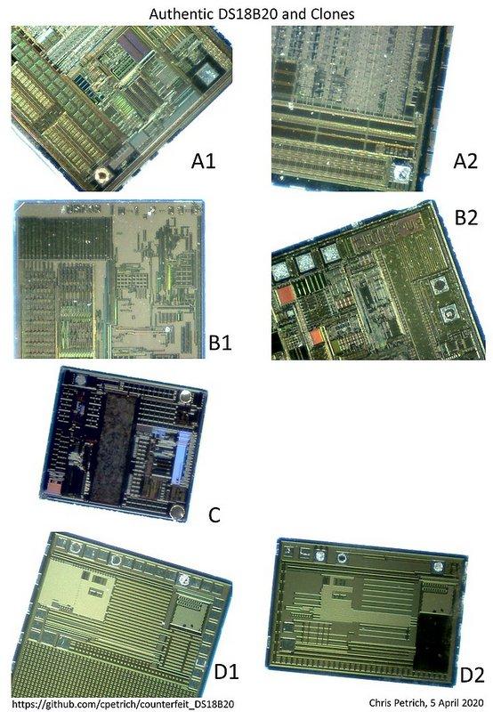 Кристаллы (матрицы) датчиков DS18B20 по указанным семействам, извлеченные из корпуса.