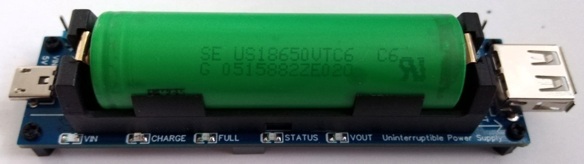 TinyUPS is a simple 5V/2.5A uninterruptible power supply with a li-ion battery.