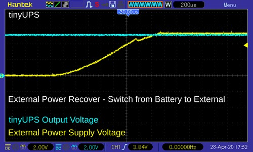 TinyUPS output voltage when the external power source is turned on
