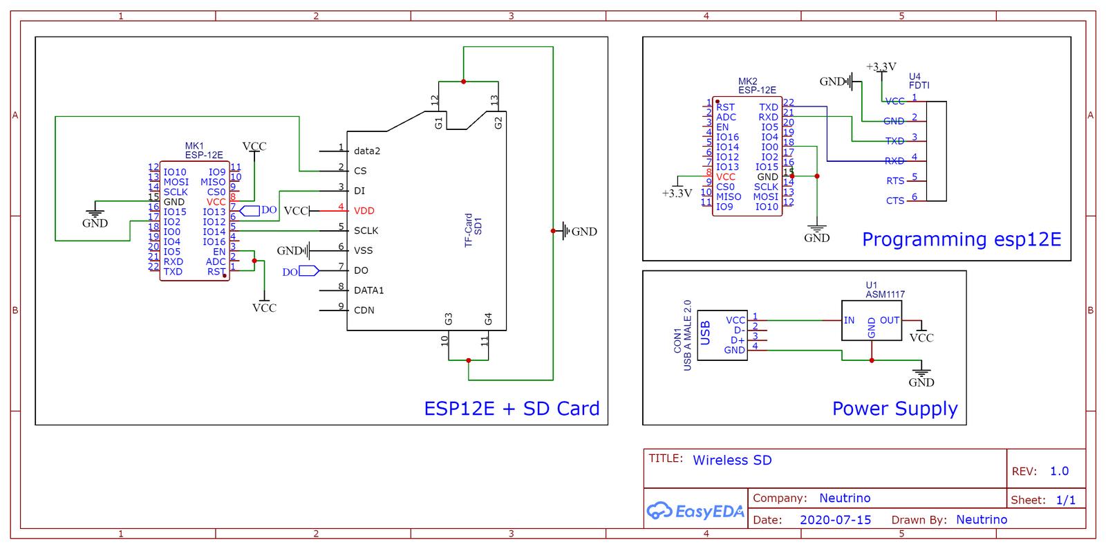 Принципиальная схема адаптера для microSD карт памяти c Wi-Fi интерфейсом на ESP8266.