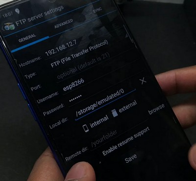 Подключение к FTP серверу на ESP-12E с Android-смартфона.