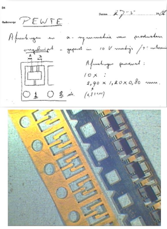Оригинальный эскиз корпуса SOT23 1966 года и выводная рамка SOT23, изготовленная в 1969 году.