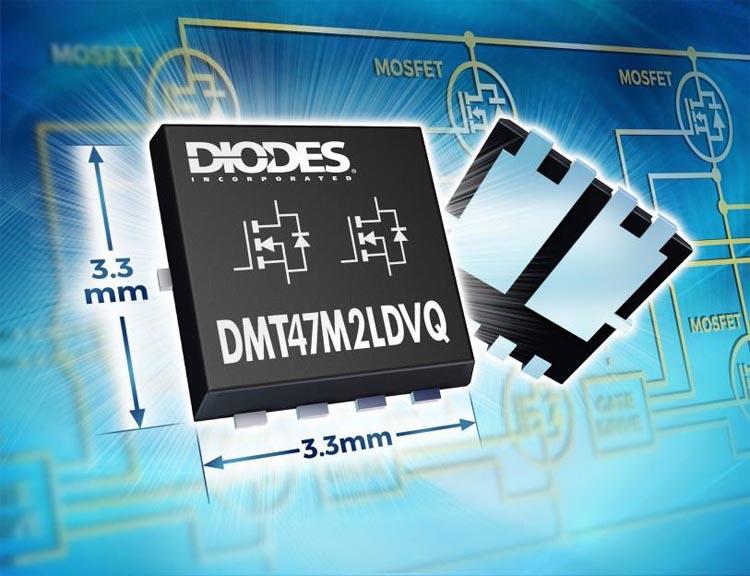 Diodes анонсирует первый в отрасли сдвоенный 40-вольтовый автомобильный MOSFET в корпусе 3.3x 3.3мм