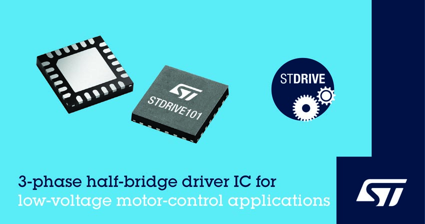 STMicroelectronics Trims Brushless Motor-Control Designs Gate-Driver