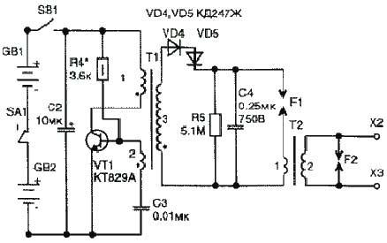 Стандартная схема электрошокера