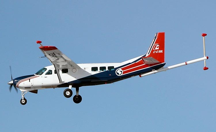 One test aircraft used by the project team was a Cessna Caravan that's routinely outfitted for geophysical surveying