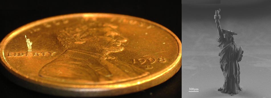 Microlight3D prints tiniest Statue of Liberty using new 3D microprinting feature