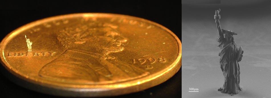Microlight3D prints tiniest Statue Liberty using