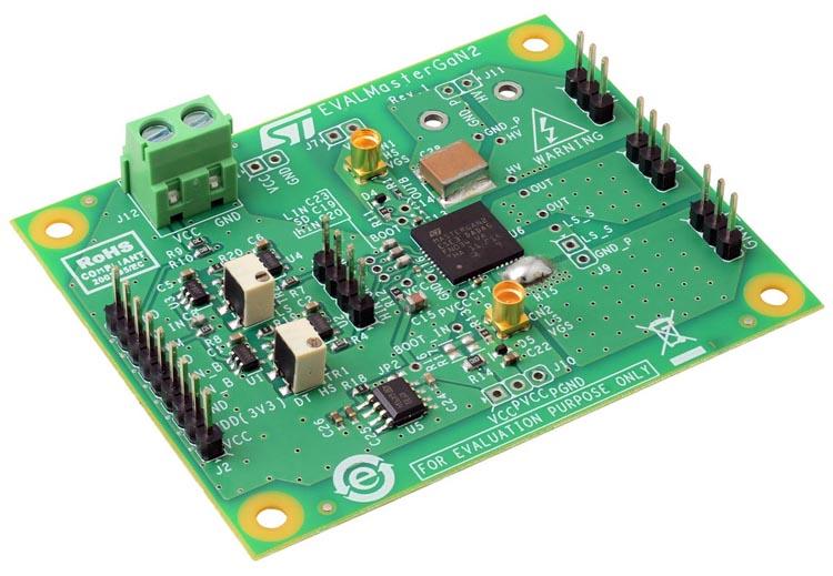 Demonstration board EVALMASTERGAN2 for MASTERGAN2 high power density half-bridge high voltage driver with two 650 V enhanced mode GaN HEMT
