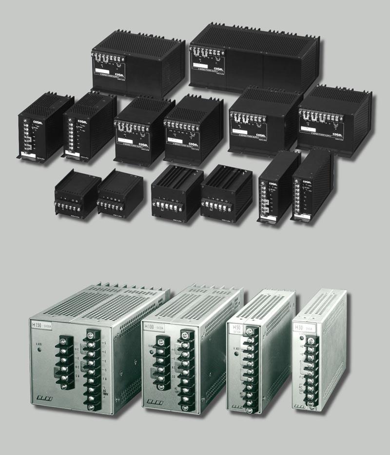 Линейные источники питания серии «G» (вверху) и импульсные источники серии «H» (внизу), выпущенные компанией ELCO/COSEL в 1975 году.