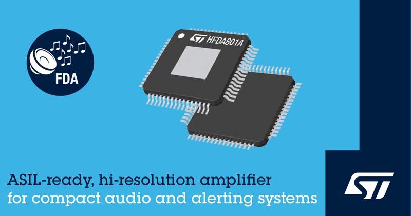 STMicroelectronics выпускает усилитель класса D со встроенными средствами диагностики для автомобильного HDаудио