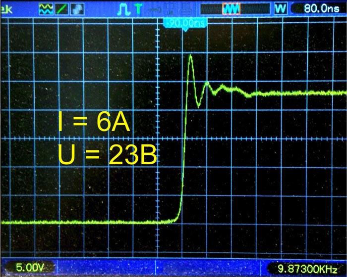 Форма сигнала на стоке VT3 при его запирании.