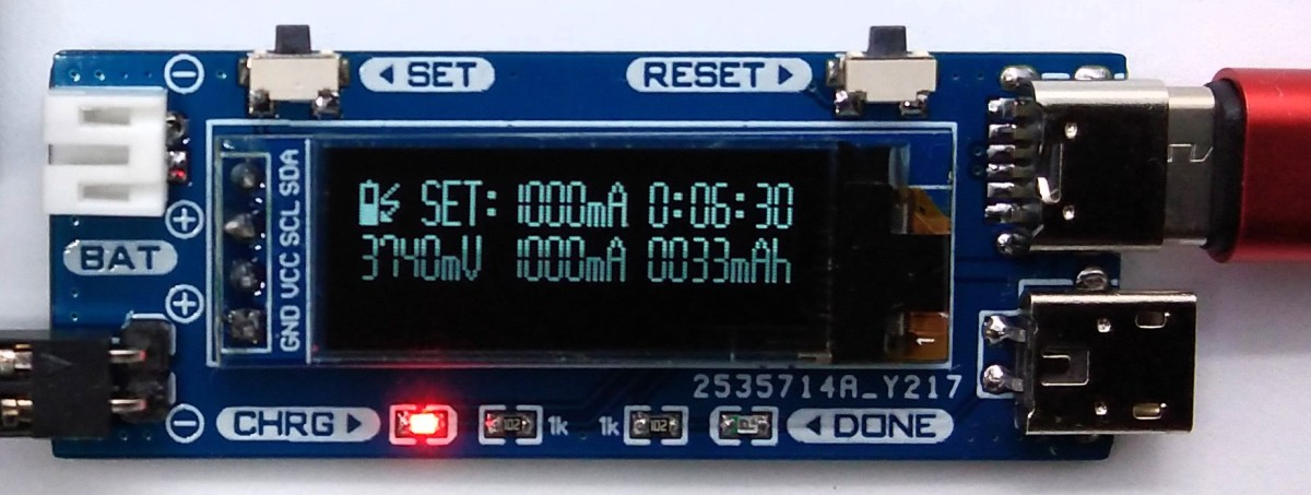 TinyCharger - Single Cell Li-Ion Battery Charger with Monitoring.