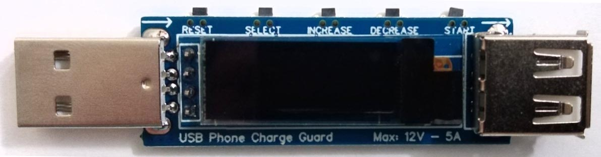 USB Phone Charger Guard PCB, buttons and components placement.