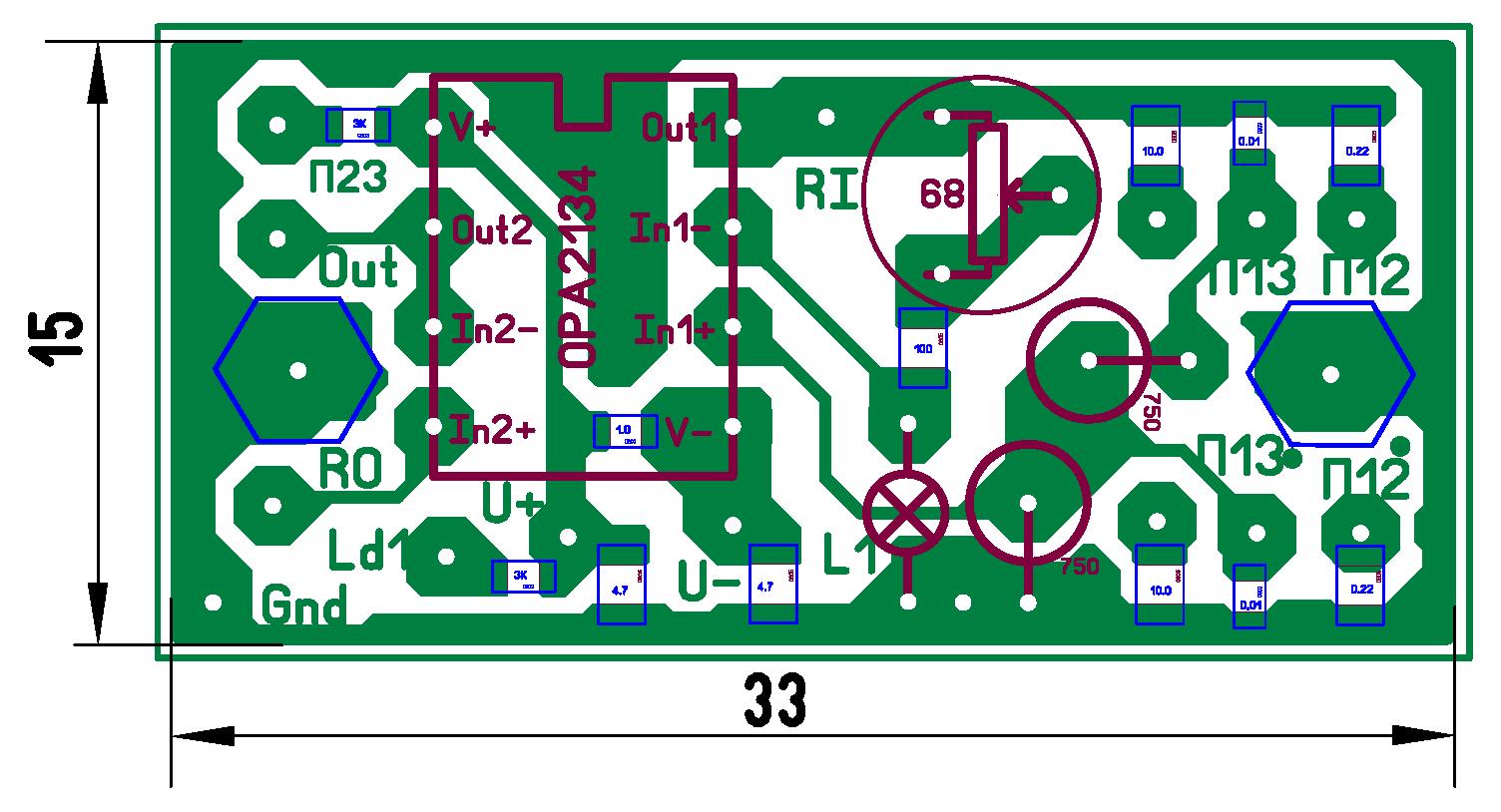 Разводка и внешний вид платы генератора со стороны компонентов для поверхностного (а, в) и навесного (б, г) монтажа.