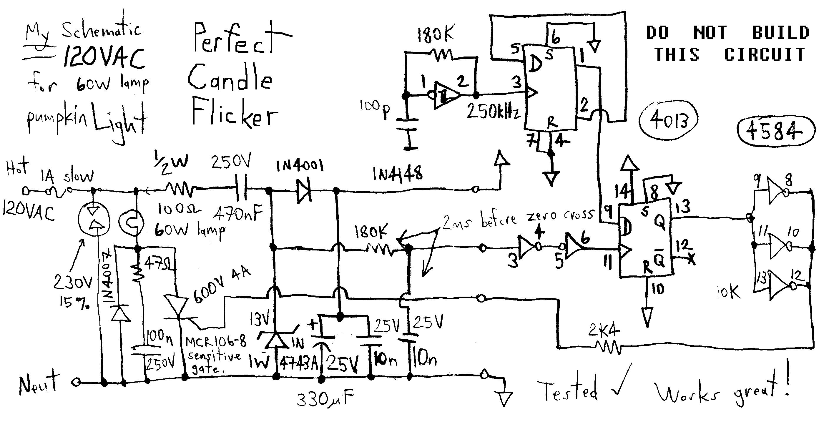 Circuit scheme Flickering Fire Light