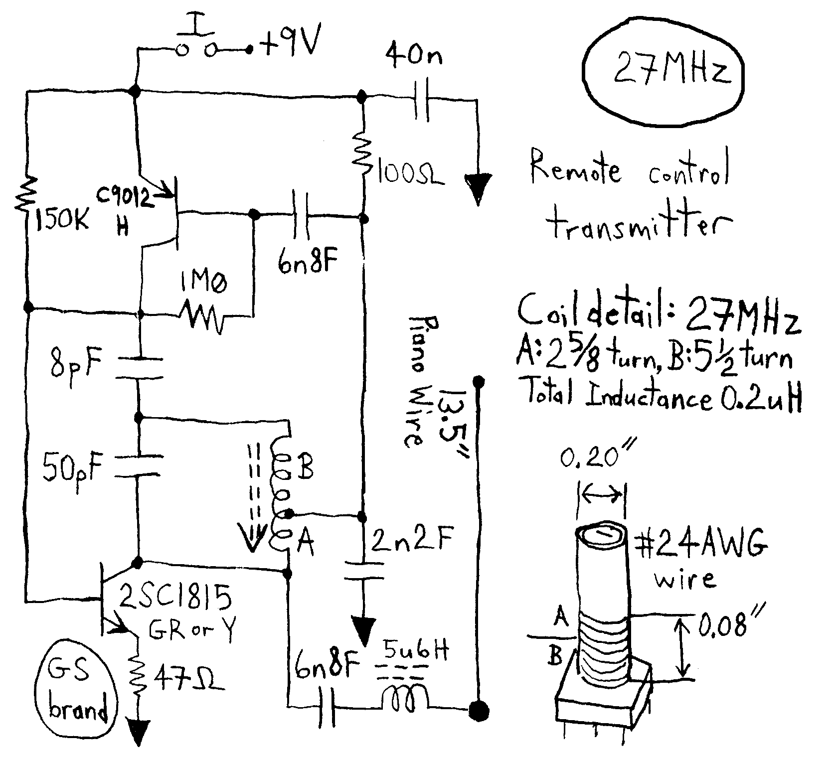 Simple Rc Cars Single Channel Transmitters And Super Regenerative Car Wiring Schematic Note That The 6 Volt Supply Which Consists Of 4 Aa Cells Is Center Tapped Feeds A 3 Motor Shown At 27mhz 40mhz 49mhz Circuit