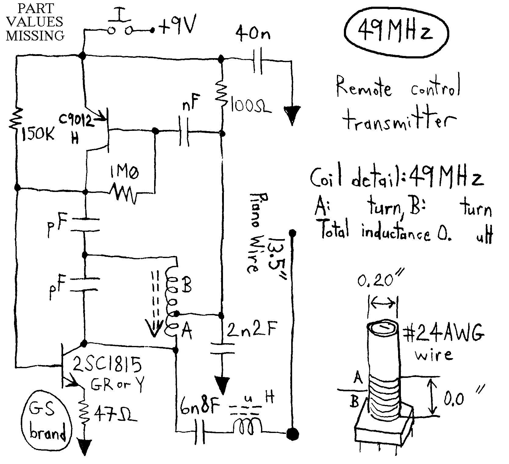 simple rc cars single channel transmitters and super regenerativenote that the 6 volt supply which consists of 4 aa cells is center tapped and feeds a 3 volt motor shown at 27mhz 40mhz and 49mhz circuit circuit circuit