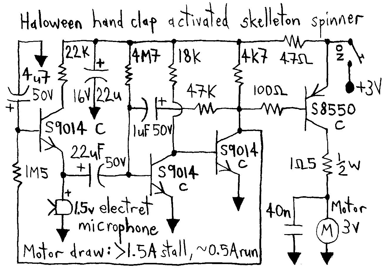 Эта схема приводит в движение двигатель работать в такт музыке.  Двигатель используется для вращения изогнутого...